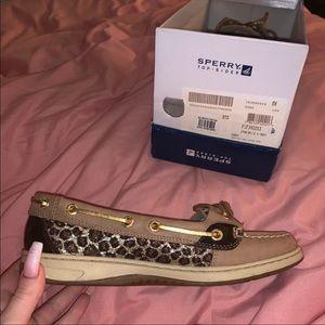 Glitter cheetah print sperry's